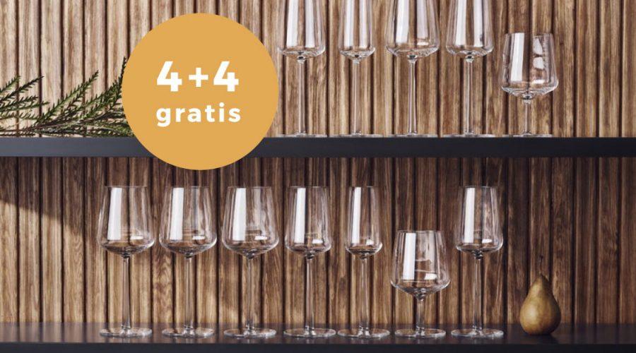 Actie Iittala Essence rode & witte wijnglazen 4 + 4 gratis